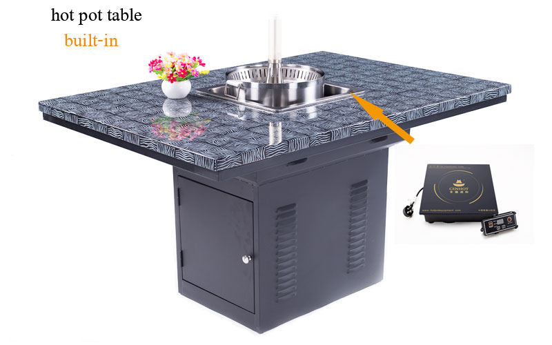 induction cooker and lift hot pot built-in the CENHOT Commercial Restaurant Hot Pot Table