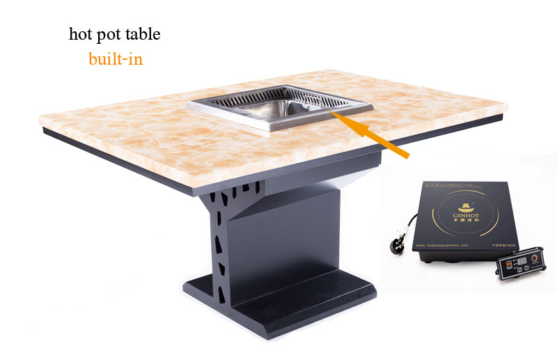 induction cooker and smokeless hot pot built-in the CENHOT Large Smokeless Hot Pot Restaurant Dining Tables