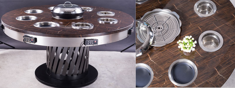The-Small Electric Smokeless Hot Pot-on-the-hot-pot-table-CENHOT