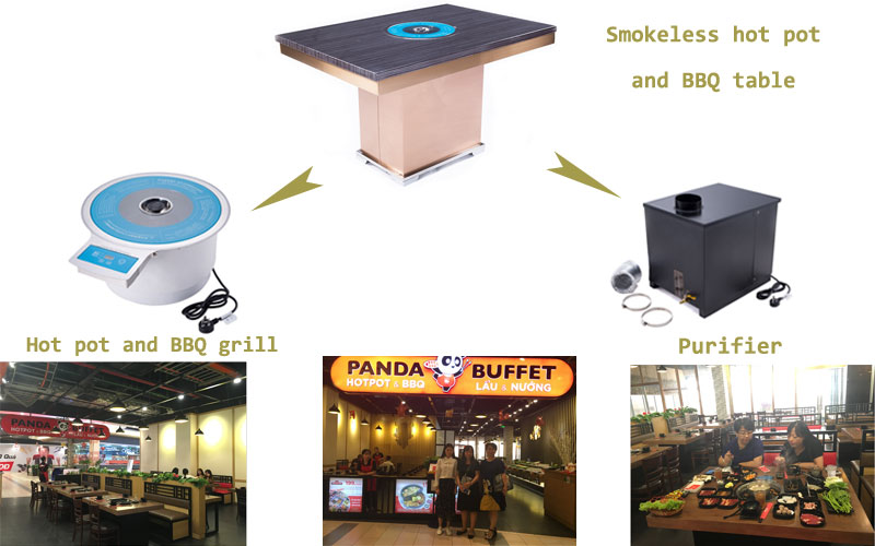 smokeless-hot-pot-and-barbecue-with-the-purifier-equipment-in-the-restaurant-CENHOT