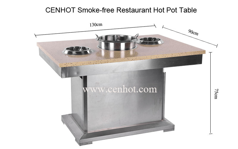 CENHOT Smoke-free Restaurant Hot Pot Table size