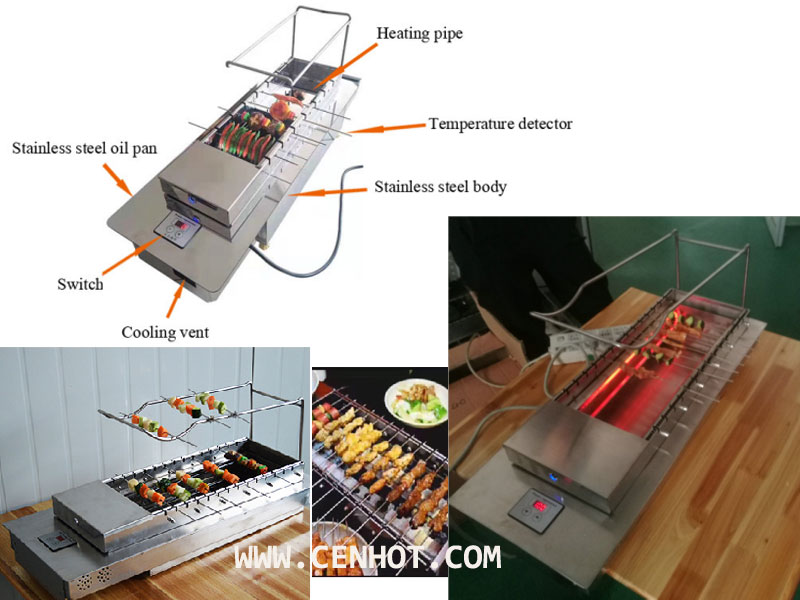 CENHOT Automatic Rotating Restaurant BBQ Grill Equipment product structure