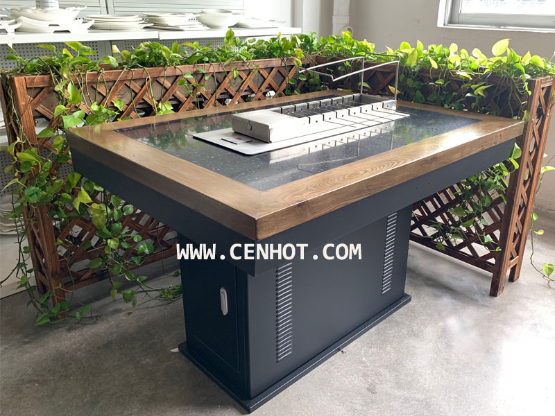 CENHOT Indoor Automatic Rotating Restaurant BBQ Grill Equipment built in the table
