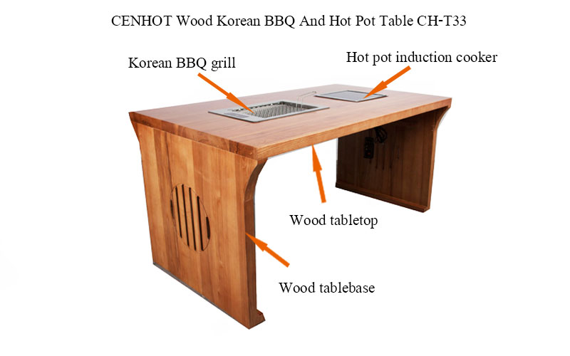 CENHOT Restaurant Hot Pot Table And BBQ Table structure