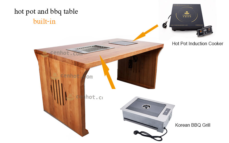 CENHOT Wood Korean BBQ And Hot Pot Tables effect