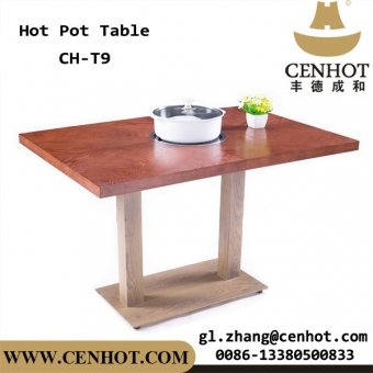 Hot-sale Wooden Tabletop And Metal Tablebase Hot-pot Table For Restaurant