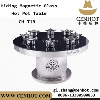 CENHOT Indoor Hiding Magnetic Glass Hot Pot Table For Restaurant