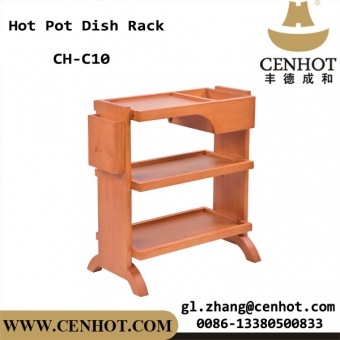 CENHOT Chinese Solid Wood Dish Racks For Hot Pot Restaurant