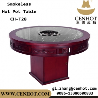 CENHOT Wooden No Smoke Hot Pot Table For Restaurant Owners