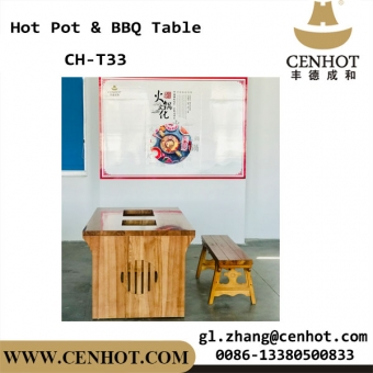 CENHOT Wood Korean BBQ And Hot Pot Tables Suppliers China